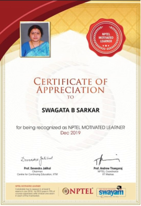 DR SWAGATA SARKAR HAS BEEN RECOGNIZED AS NPTEL MOTIVATED LEARNER FOR DEC 2019